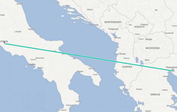 Italy to Greece by plane