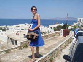Above Mykonos Town, ready to start our trek up the hill to find a new side of Mykonos.