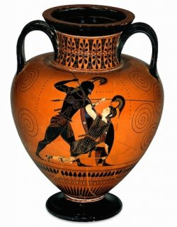 Black-figured amphora (wine-jar) signed by Exekias as potter and attributed to him as painter 540-530 B.C.E. (The British Museum)