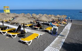 One of the best beaches on Santorini: Kamari Beach