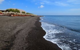One of the best beaches on Santorini: Perivolos Beach