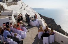 Santorini Caldera chapel and Beachfront Reception all inclusive package