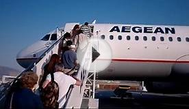 Aegean Airlines flight from Athens to Skyros, Greece