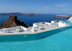 View of the caldera and Skaros Rock from Grace Santorini in Imerovigli.